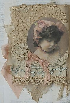 Mixed Media Fabric Collage Book of Paris Belles and Roses