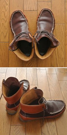 Moccasin boots Handmade Leather Shoes, Leather Men, Leather Boots, Clarks Desert Boot, Desert Boots, Moccasins Mens, Mens Moccasin Boots, Shoe Pattern, How To Make Shoes