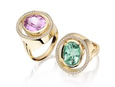 Kunzite and green tourmaline accentuated with pave set diamonds in 18 carat gold