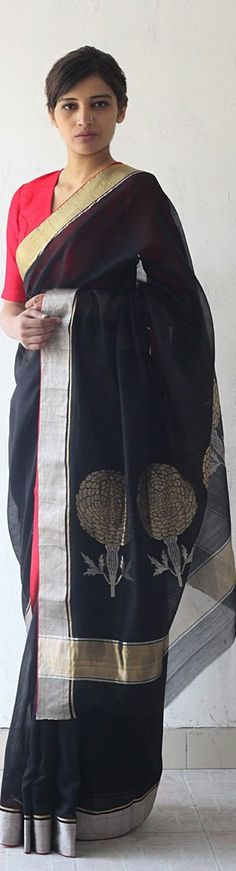 Black Chanderi & Zari Marigold Saree