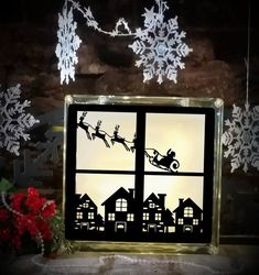 Christmas Glass Blocks, Christmas Shadow Boxes, Lighted Glass Blocks, Christmas Window Decorations, Christmas Scenes, Christmas Door, Christmas Crafts, Xmas, Old Windows Painted