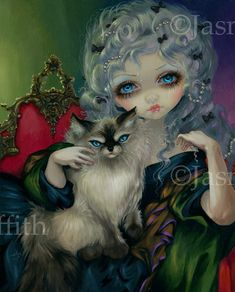 Princess with a Ragdoll Cat fairy art print by por strangeling