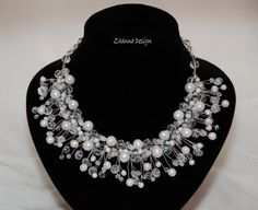 Bridal crochet necklace with white freshwater pearls,swarovski crystals,glass beads handmade by Zhanna Design.