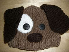 Knitted Baby Beanie Hat Brown Puppy Dog by NiftyNookDesigns, $15.00