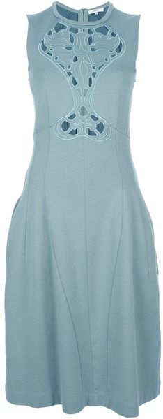 Cut-Out Embroidered Dress - Lyst