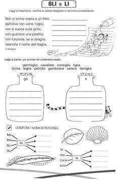 Italian Grammar, Italian Words, Primary School, Elementary Schools, Math Crafts, Montessori Math, Reading Worksheets, Learning Italian, Teaching Materials
