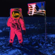 """This art work is called """"Moonwalk"""" made by Andy Warhol during his """"Pop Art"""" period. What I really like about this art work is how the astronaut stands out so much this is thanks to the simultaneous contrast. I also love the mixture of cool and warm colors I think it looks cool.  Sophia ART 6"""