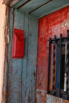 Old doorway with vintage mailbox ~ santafedailyphoto.blogspot.com