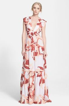 "Free shipping and returns on Rachel Zoe 'Pammy' Print Silk Maxi Dress at Nordstrom.com. <p><B STYLE=""COLOR:#990000"">Pre-order this style today! Add to Shopping Bag to view approximate ship date. You'll be charged only when your item ships.</b></p><br>A grand-scale print splashes color across a lightweight silk maxi dress that balances the floor-skimming silhouette with a plunging V-neckline and a spine-baring cutout."