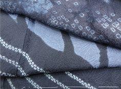 Shibori   John's Attic   Detail of kimono, showing how the pattern was dyed to traverse the seam
