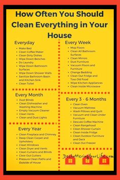 cleaning schedule Housekeeping schedule and Home maintenance cleaning checklist - how often to clean things in your home. Printable checklist and tips for when to clean everything in your house. Daily, weekly and monthly cleaning schedules too! Deep Cleaning Tips, House Cleaning Tips, Diy Cleaning Products, Cleaning Hacks, Speed Cleaning, Cleaning Rota, House Cleaning Schedules, Zone Cleaning, Deep Cleaning Checklist