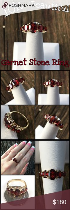 💕SALE💕 10k Gold Alwand Vahan 5 Stone Garnet Ring Beautiful 10k Yellow Gold Alwand Vahan 5 Stone Garnet Ring. Size 7, sizable. Marked 10k Av for Alwand Vahan. Largest stone measures 8mm x 6mm. The ring is in great pre-owned condition. Ready to wear daily & enjoy it's beauty or would make a great gift for someone special! Look over all pictures. Thanks for looking. Please ask all ?'s b4 purchase. I ship same day. Please make REASONABLE offer using offer button only. No low ball or trade. Buy…