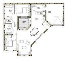Plan Maison En U, Plan Maison Ossature Bois, Maison Avec Patio, Plan Maison  4 Chambres, Plan Maison Plain Pied, Maison Carré, Maison Plein Pied,