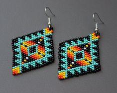 Beaded Earrings, Geometric Aztec Earrings, Tribal Earrings, Large Dangling Earrings – Welcome Aztec Earrings, Beaded Earrings Native, Beaded Earrings Patterns, Beaded Bracelets, Making Bracelets, Indian Earrings, Seed Bead Jewelry, Seed Bead Earrings, Etsy Earrings