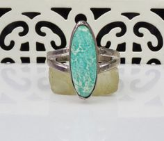 Old Bell Sterling Silver Turquoise Ring by LittleBittreasures