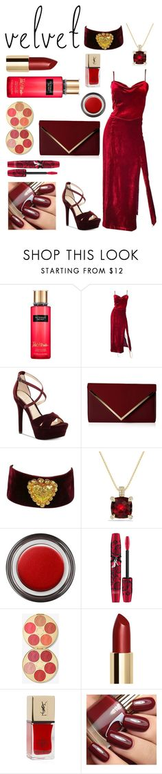 """Red Velvet"" by dy-lo ❤ liked on Polyvore featuring Victoria's Secret, Giorgio Armani, Jessica Simpson, ALDO, Christian Lacroix, David Yurman, John Lewis, Physicians Formula, tarte and Lord & Taylor"