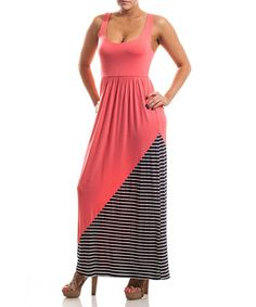 Look what I found on #zulily! Navy & Pink Stripe Maxi-Dress #zulilyfinds