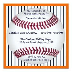 Custom Navy Blue Pinstripes Baseball Birthday Party Custom Announcements created by faithandhopesplace. This invitation design is available on many paper types and is completely custom printed. Baseball Birthday Invitations, Baseball Birthday Party, Sports Birthday, 1st Boy Birthday, Birthday Parties, Birthday Ideas, Mickey Party, Theme Parties, Navy Blue