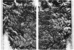 "nalbinding fragment from Tuukkala cemetary in Mikkeli, Finland ; Fig. 2a-b from Tomanterä, Leena (1987) ""Nadelhandschuhe aus der jüngeren Eisenzeit in Finnland"" in Fennoscandia archaeological IV, p. 117-120"