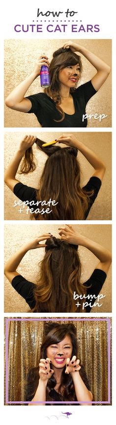 A Cute Cat Ears hairstyle is a great last-minute DIY Halloween costume. Here's 3 easy steps from celebrity stylist @sarahpotempa   1. Spray roots with Aussie 7N1 Total Miracle Collection Dry Shampoo to add texture. 2. Separate a large section of hair at your crown & tease by brushing downwards towards your scalp. 3. Create a small bump & secure with a bobby pin. Repeat on the other side. Finish with Aussie Mega hairspray.  Pair with your favorite black outfit for your next costume party.