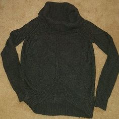 women's Ann Taylor Loft wool blend sweater size small cowl neck charcoal gray