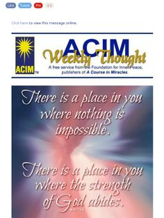 There is a place in you where nothing is impossible. There is a place in you where the strength of God abides.