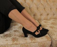 Vintage 1960s Black Velvet Mary Jane Pumps by by BasyaBerkman, $52.00