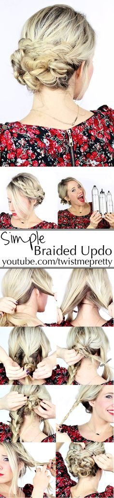 A Simple Braided Updo - This hairstyle looks easy enough to follow and it's perfect for those special occasions. Full video tutorial on YouTube!!