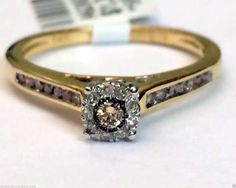 10k Yellow Gold Vintage Cathedral Champagne Diamond Engagement Bridal Wedding Ring by RG&D