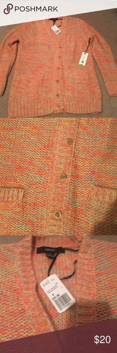Coral Forever 21 button up cardigan! Brand new! Coral V-neck cardigan! Forever 21 Sweaters V-Necks