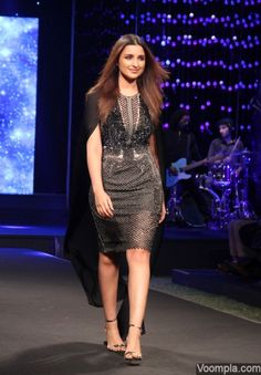 Parineeti Chopra modelling black dress fashion ramp walk