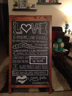 Chalkboard sign decor for the home. Love is patient, love is kind.