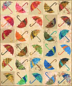 Dancing Umbrella quilt pattern by Edyta Sitar of Laundry Basket Quilts - ( Finished size is 45 X 54 Techniques - Piecing and raw edge applique - Suitable for all skill levels. Umbrella stencil available here: Creeper Minecraft, Embroidery Designs, Quilting Designs, Laundry Basket Quilts, Laundry Baskets, Applique Quilt Patterns, Block Patterns, Quilt Modernen, Machine Applique