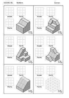 Ejercicios de Vistas y perspectivas. Alzado derecho. Piezas con rampas. Isometric Drawing Exercises, Interesting Drawings, Memphis Design, Perspective Drawing, Cad Drawing, Tecno, Technical Drawing, Drawing Techniques, Autocad