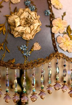 detail of victorian ribbon roses