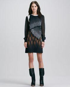 Draped Mixed-Print Long-Sleeve Dress at CUSP.