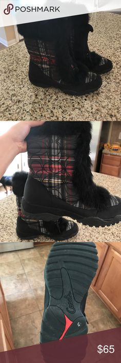 Coach Jennie Signature Fur winter boots Winter meets style with these Coach fur trim boots in plaid. Features signature Cs throughout the plaid pattern. Only worn a handful of times and shoes no signs of wear except on the sole. Reasonable offers welcome. Coach Shoes Winter & Rain Boots