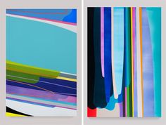 LA-based artist Dion Johnson's colorful oversized paintings are just what the doctor ordered today. I love the horizontal one – it resembles the horizon, perhaps as seen from a plane window on takeoff.