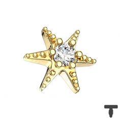 6 mm Dermal Anchor vergoldet Seestern mit Kristall in Materialstärke 1.2 mm Dermal Anchor, Brooch, Jewelry, Starfish, Crystals, Stars, Dermal Piercing, Jewlery, Bijoux