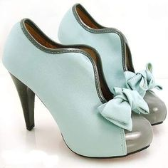 Aqua and grey ankle platform boots with bow