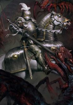 Toussaint Knight-Errant - Card illustration for The Crimsone Curse expansion pack in Gwent: The Witcher Card Game. - ART by Marta Dettlaff - Senior Concept Artist at CD Projekt RED Armadura Medieval, Witcher Art, The Witcher, Medieval Knight, Medieval Fantasy, Warhammer Fantasy Roleplay, Knight Art, Fantasy Armor, Fantasy Characters