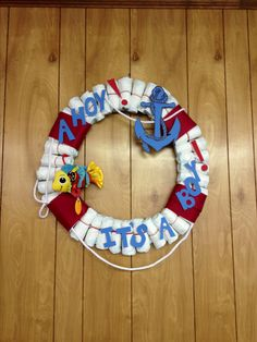Diaper life saver decoration. Ahoy! It's a boy! Baby shower