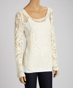 Love this Ivory Sheer Floral Lace Scoop Neck Top by Banana U.S.A. on #zulily! #zulilyfinds