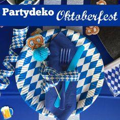 Oktoberfest Deko in weiss & blau