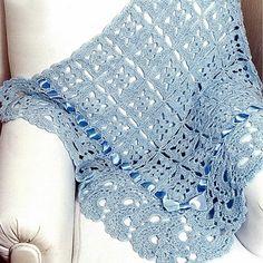 manta em croche azul para o bebê em croche com receitas