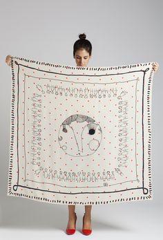 """chickenpox"" rumisu silk scarf 140 cmsx140cms"