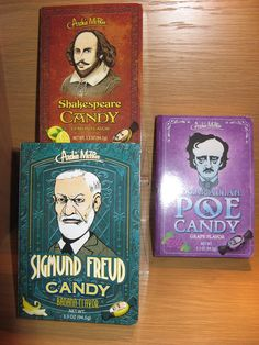 Susan Says: We've always had a soft spot for Lifesaver Candy Books, but these are even whackier. Sigmund Freud (banana flavour), Edgar Allan Poe (grape) and Shakespeare (lemon). Delicious hard candy with picture of the famous guy on the wrapper. Yup, that's whacky.  Available at Best of Friends Gift Shop in the lobby of Winnipeg's Millennium Library. 204-947-0110 info@friendswpl.ca Lifesaver Candy, Gifts For Friends, Best Friends, Sigmund Freud, Edgar Allan Poe, Famous Men, Hard Candy, Life Savers, Just For Fun