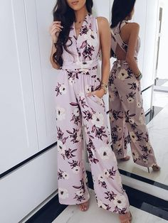 Floral Plunge Crisscross Wide Leg Jumpsuit Women's Best Online Shopping - Offering Huge Discounts on Dresses, Lingerie , Jumpsuits , Swimwear, Tops and More. Trendy Outfits, Summer Outfits, Fashion Outfits, Womens Fashion, Fashion Tips, Fashion Brands, Fashion Websites, Fashion Stores, Ladies Fashion