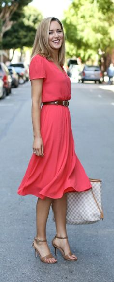 coral midi dress, nude heeled ankle strap sandals, brown waist belt, checkered…