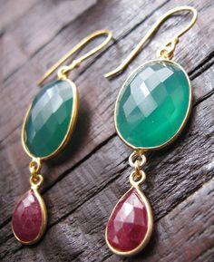 Gemstone Earrings Green Chalcedony and Ruby Earrings by Belesas, $49.99
